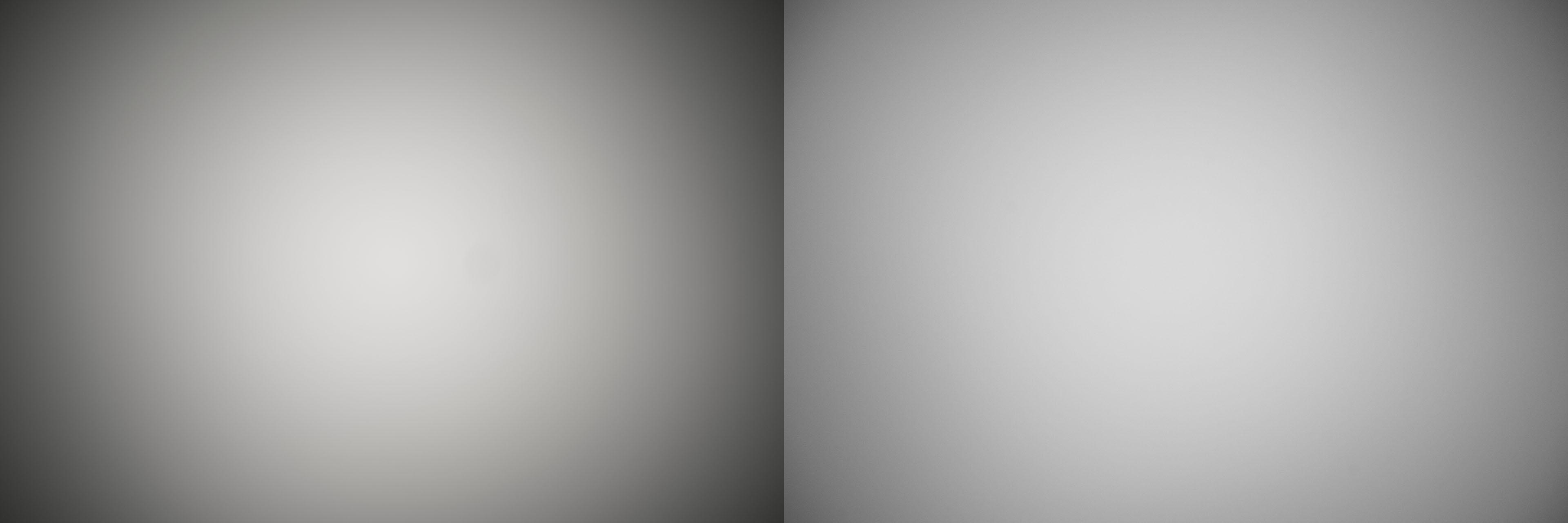 Lichtafval van de Samyang 35mm F1.8 op volle opening en op F5.6