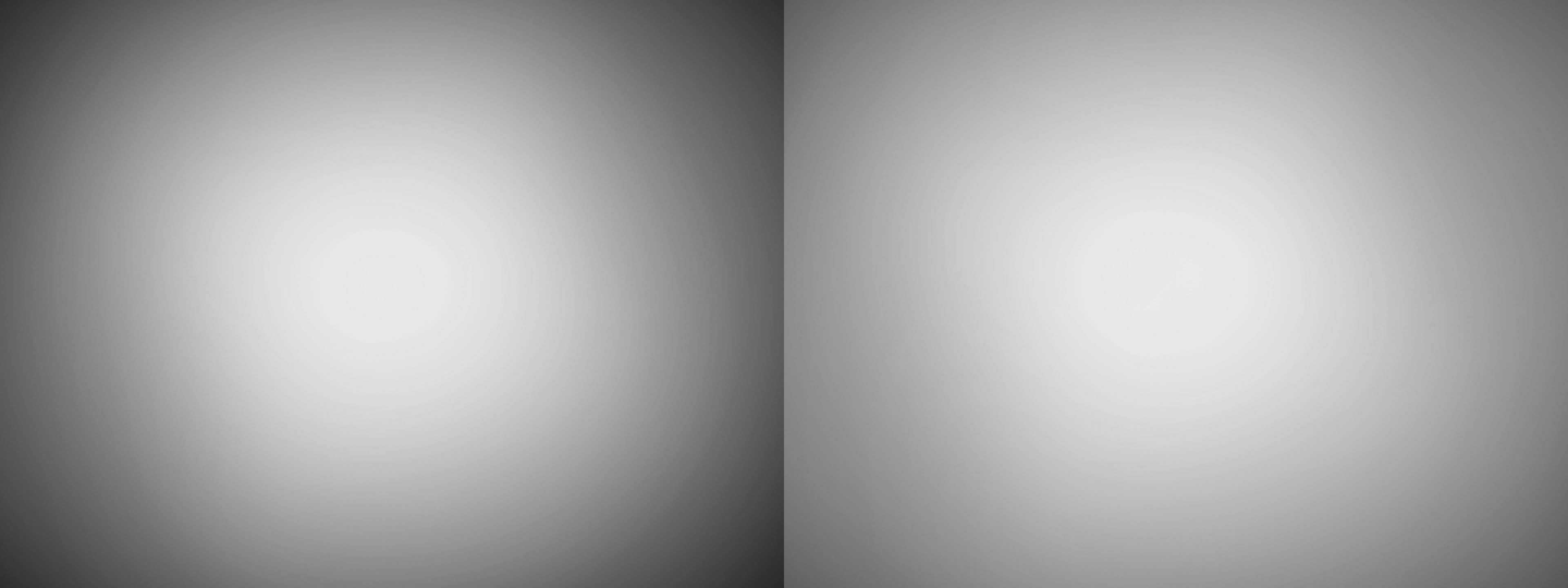 Lichtafval van de Fujifilm GF 30mm F3.5 R WR op volle opening met en zonder lenscorrecties.